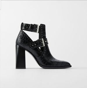 Zara studded animal print ankle boots